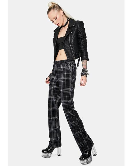 Onto Better Things Plaid Velour Pants