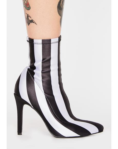 Ghoul Please Striped Booties
