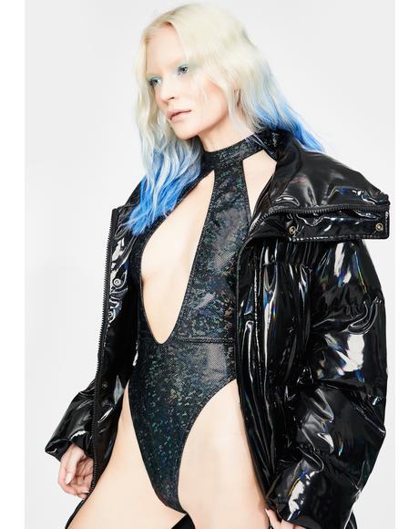 Black Holographic Keyhole Bodysuit