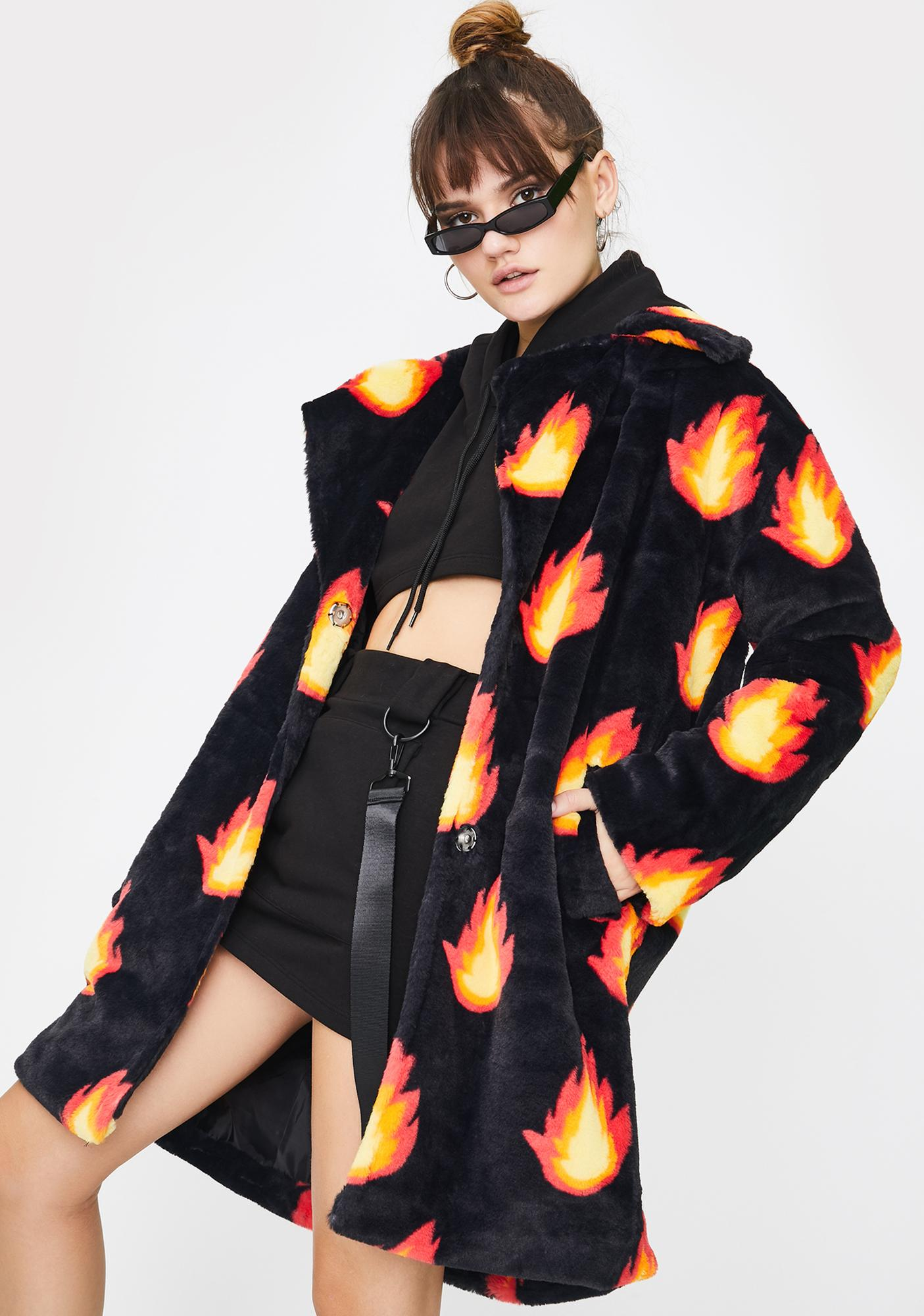 Daisy Street Flame Faux Fur Coat