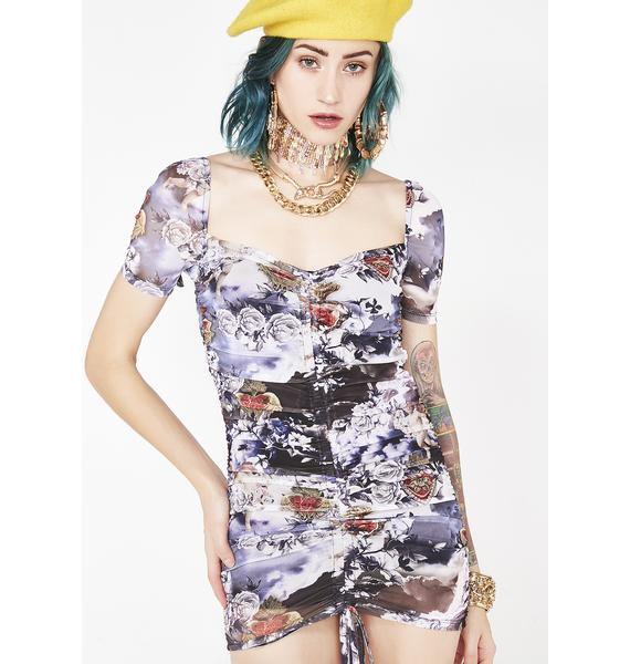 Jaded London Cherub Print Ruched Mesh Mini Dress
