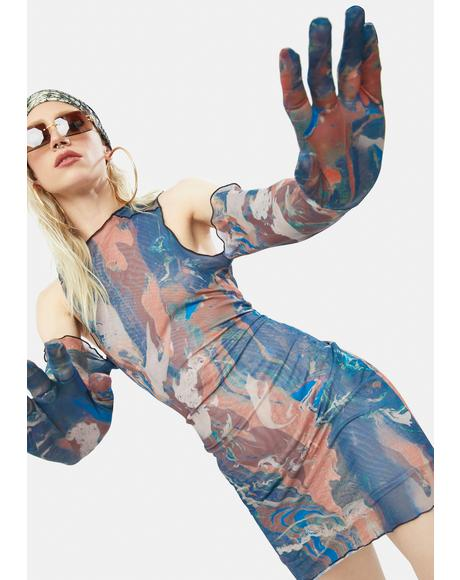 Marble Print Cold Shoulder Glove Detail Mesh Mini Dress