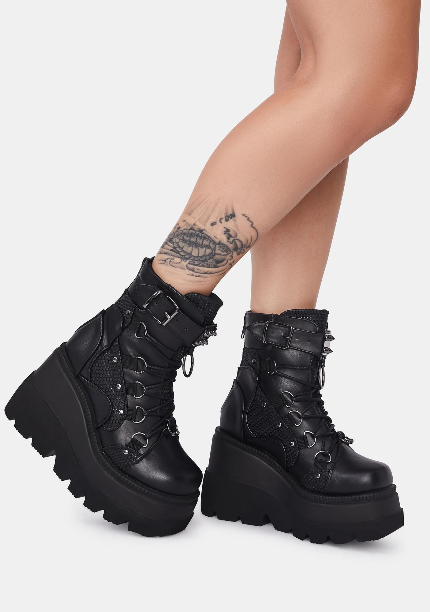 Demonia Combat Technopagan Platform Boots