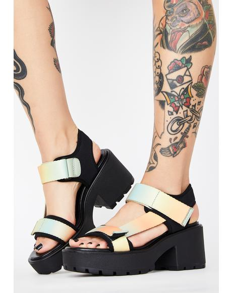 Pastel Multi Textile Dioon Platform Sandals