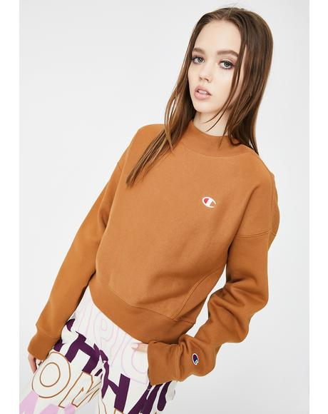 Brown Sepia Mock Neck Crop Crew