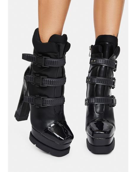 Black Lying Buckle Boots