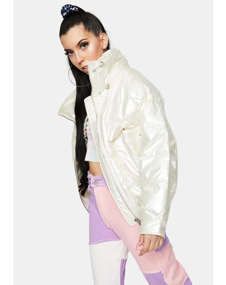 White Pearl Puffer Jacket