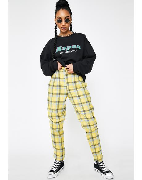 Yellow Checker Print Tapered Pants