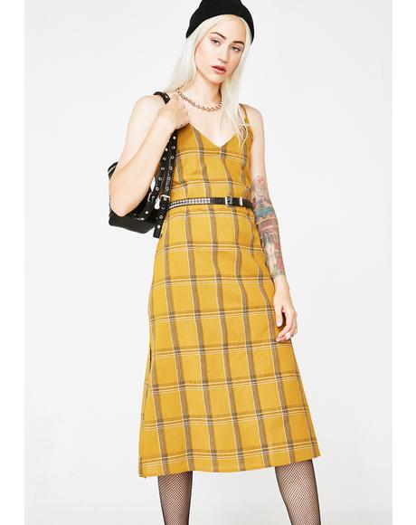 Honeytrap Plaid Midi Dress