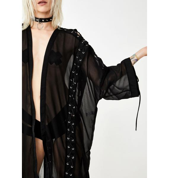Club Exx Sheer Terror Lace-Up Robe