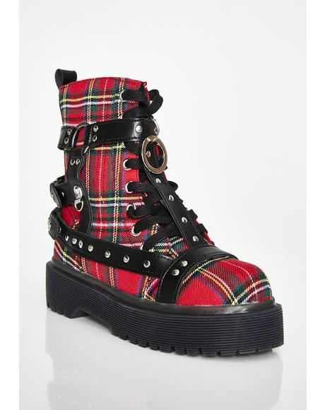 Plaid Disorder Bondage Boots