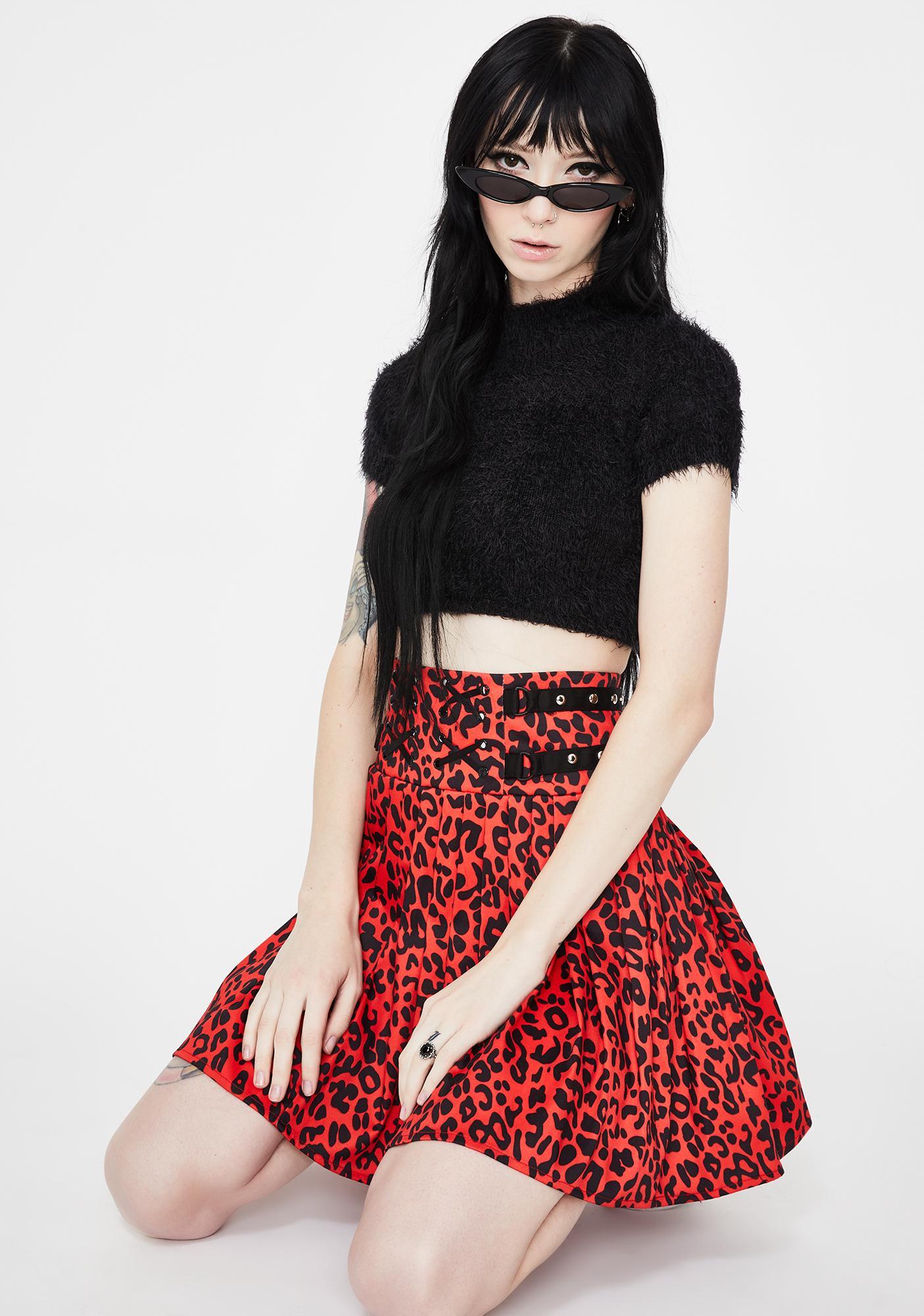 Jawbreaker Leopard Print Studded Skirt
