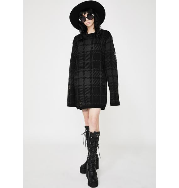 Killstar Tartan Darklands Knit Sweater