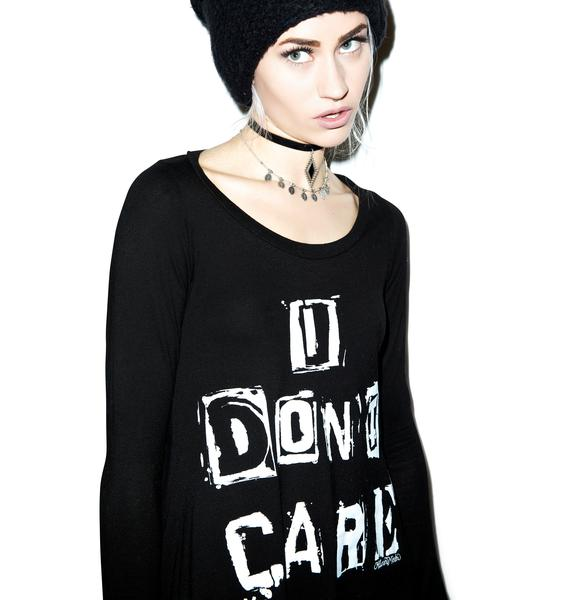 Lauren Moshi Fiona I Don't Care Long Sleeve Tee Shirt Dress