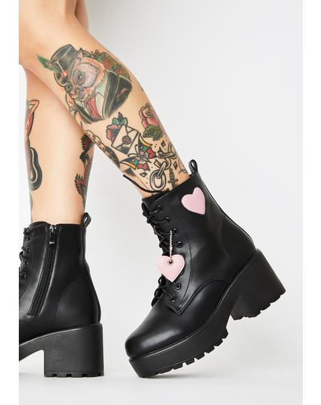 Pink Heart Gin Platform Boots