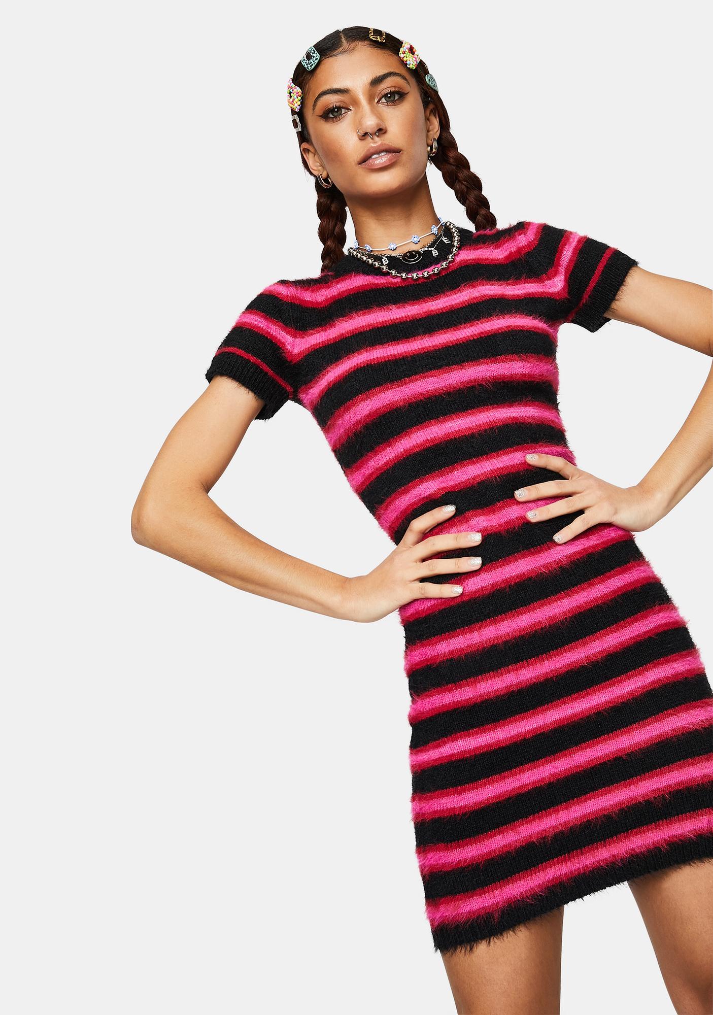 The Ragged Priest Culprit Fuzzy Striped Mini Dress