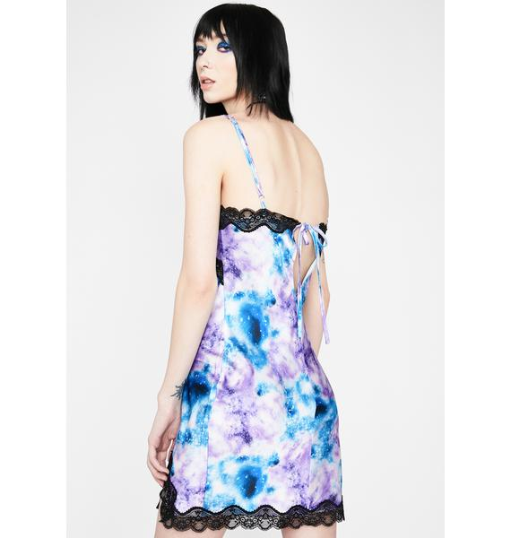 HOROSCOPEZ Galaxy Quest Tie Dye Slip Dress