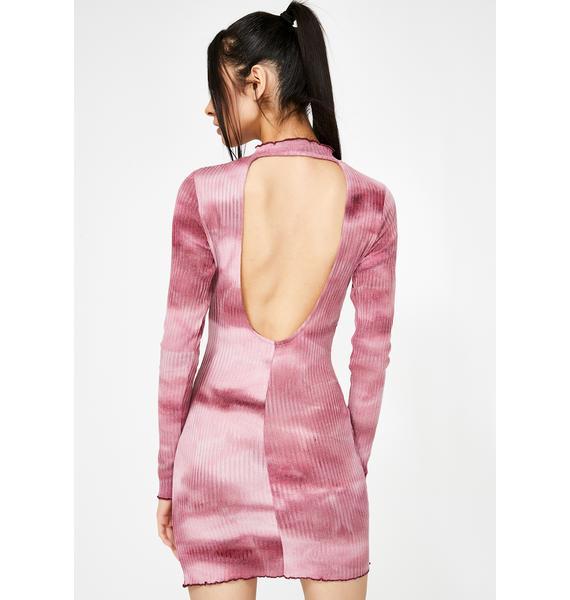 Honey Punch Raspberry Tie Dye Bodycon Dress