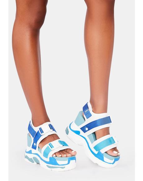 Blue Peach Platform Sandals