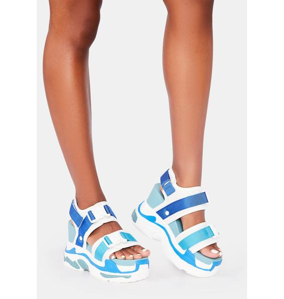 Anthony Wang Blue Peach Platform Sandals