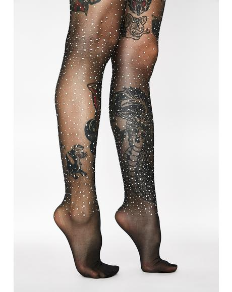 Midnight Glimmer Rhinestone Tights