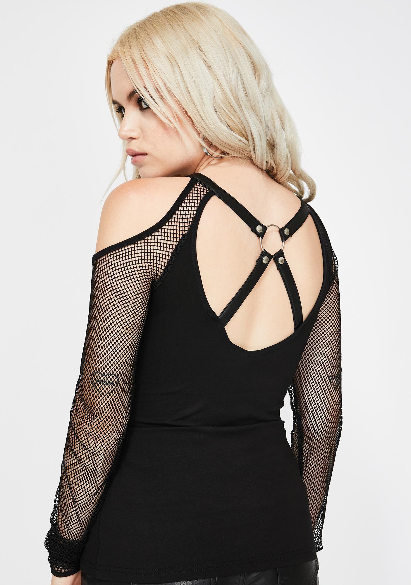 Devil Fashion Fishnet Sleeve Lace-Up Cut-Out Top
