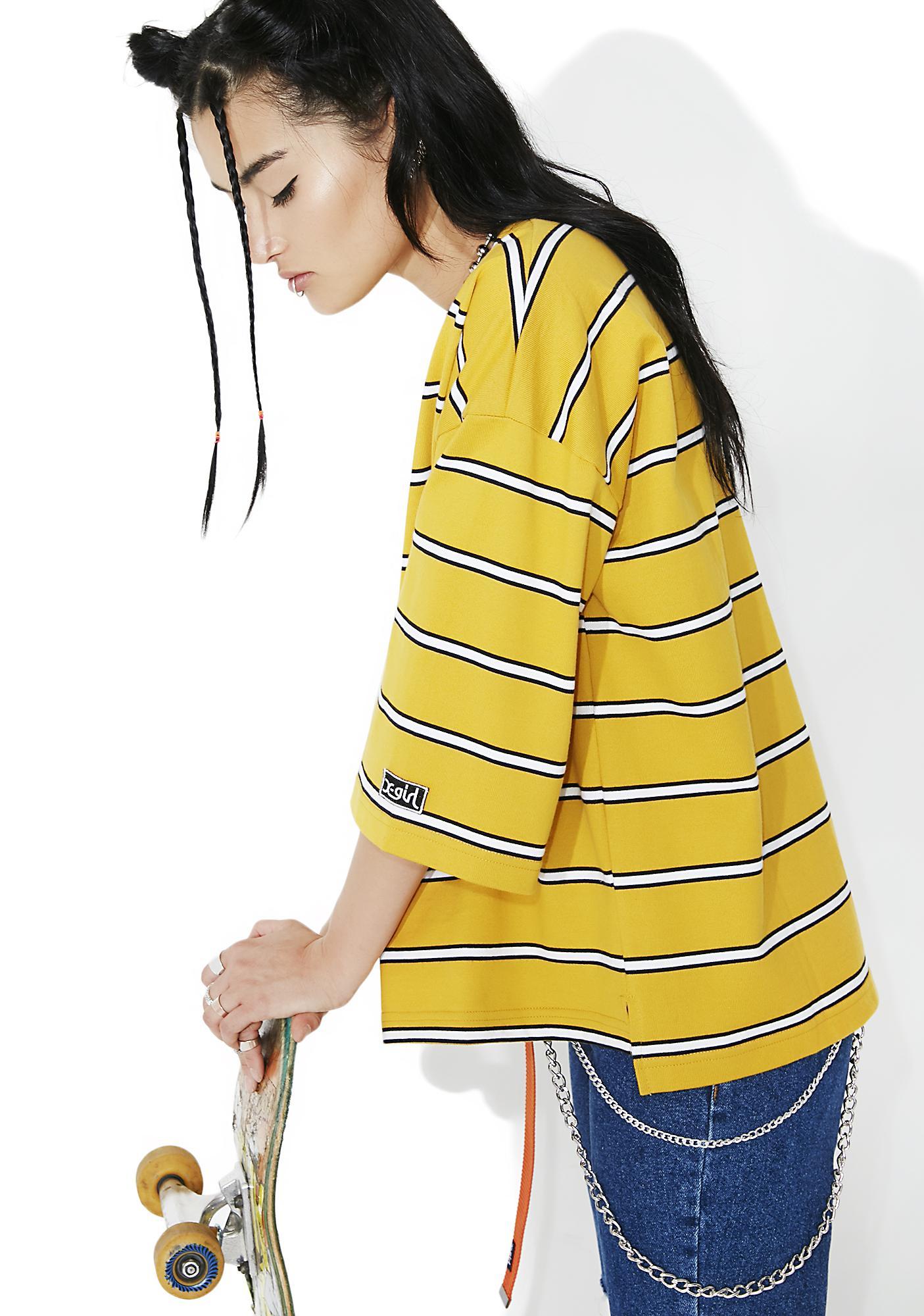 x-Girl Basic Stripe Boxy Top