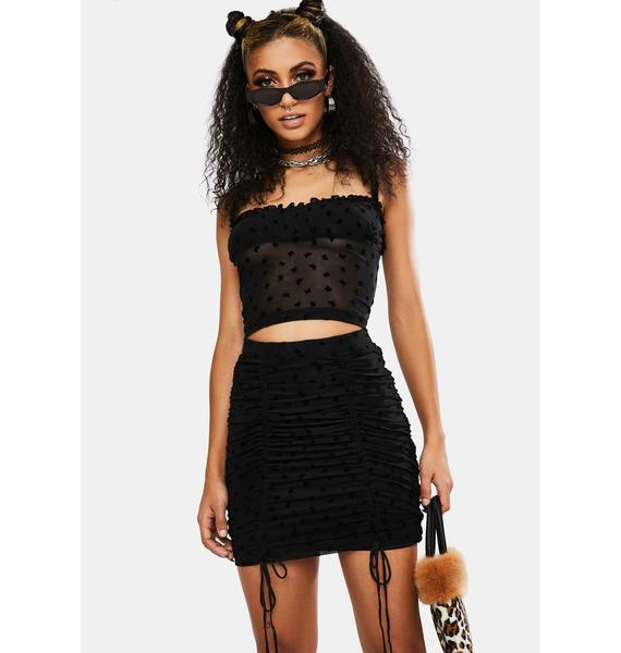Motel Black Flock Flutterby Jora Mini Skirt