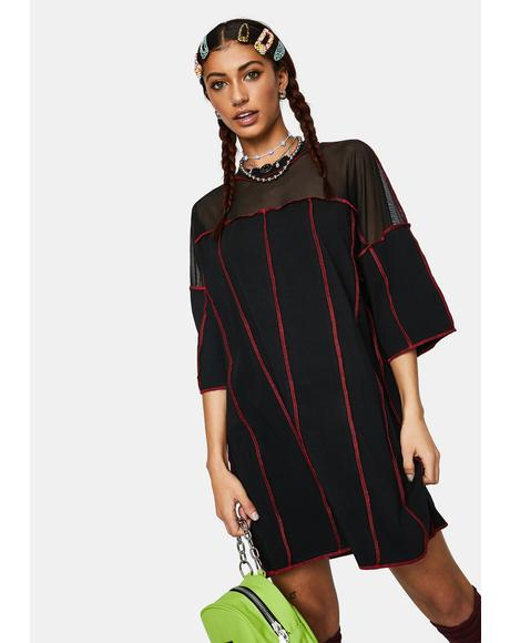 Exposed Paneled Tee Dress