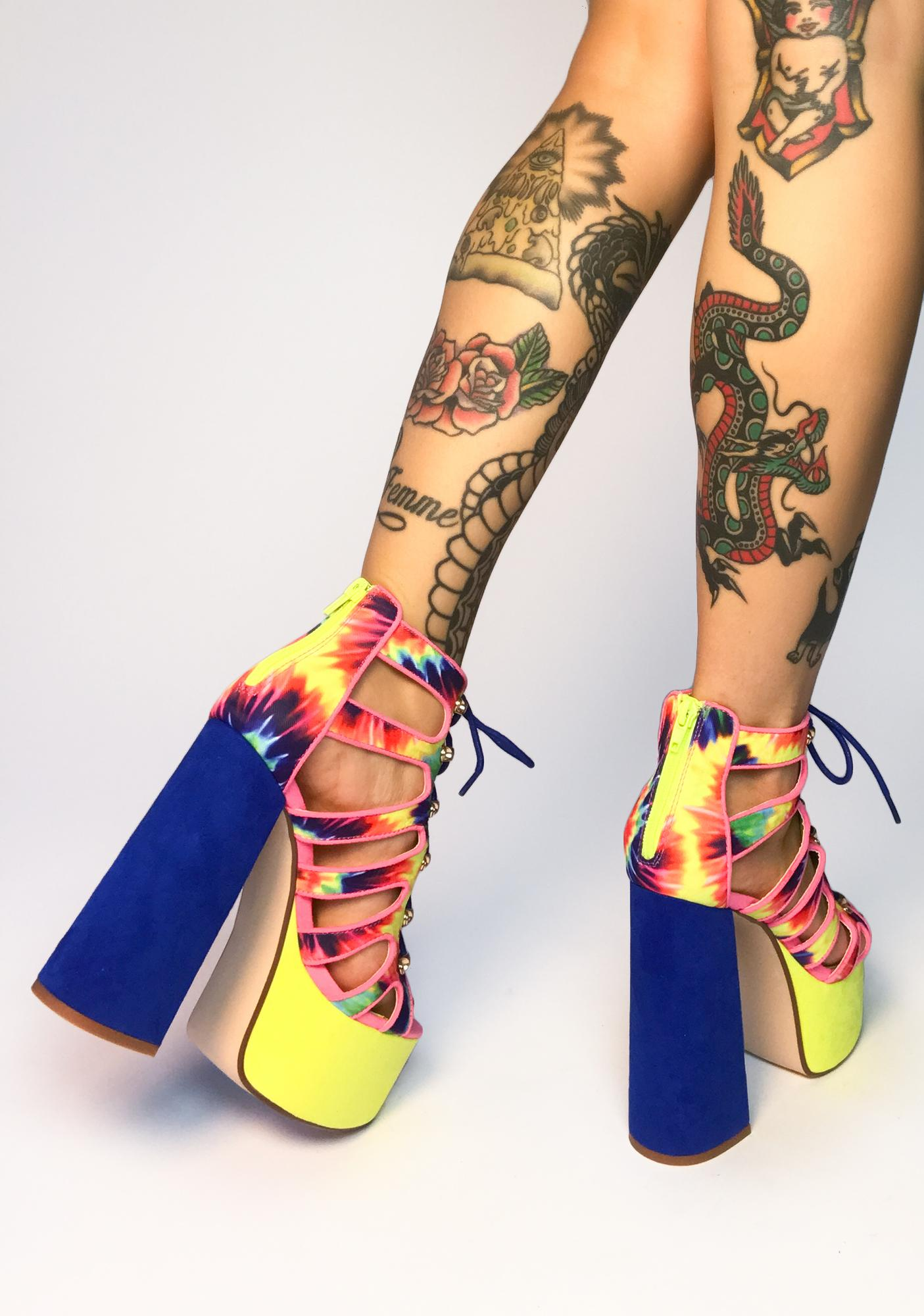 Lemon Drop by Privileged Tie Dye Mallory Platform Heels