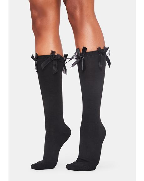 Noir Heaven's Baby Bow Knee Socks
