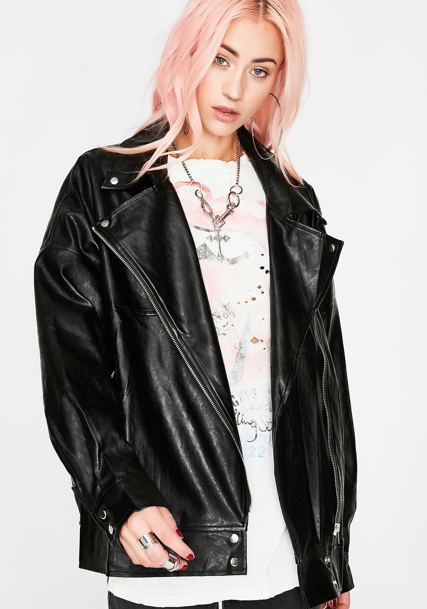 Babe Outta Hell Oversized Moto Jacket