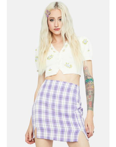 Lilac Playful in Plaid Mini Skirt