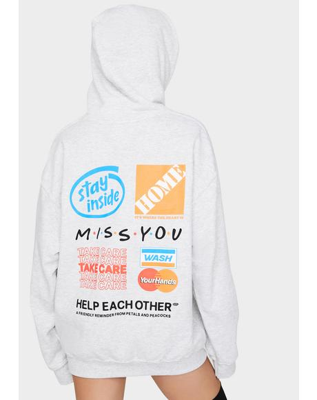 Gray Help Each Other Graphic Hoodie