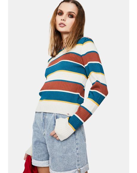 Auburn Deep Sky Striped Sweater