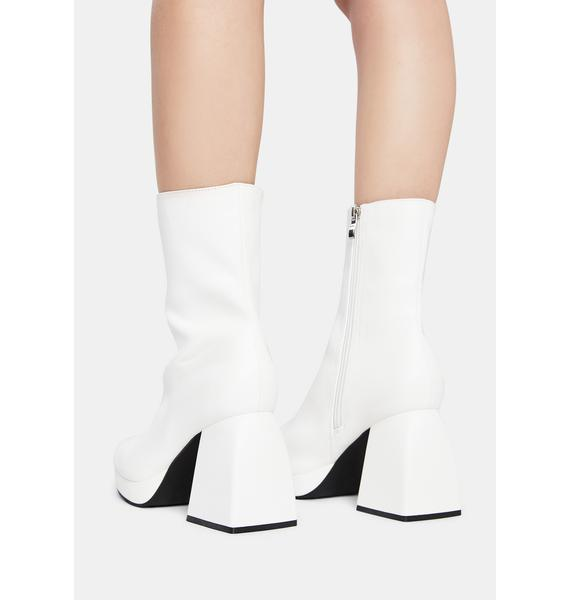 Public Desire White Imagine Chunky Heel Ankle Boots