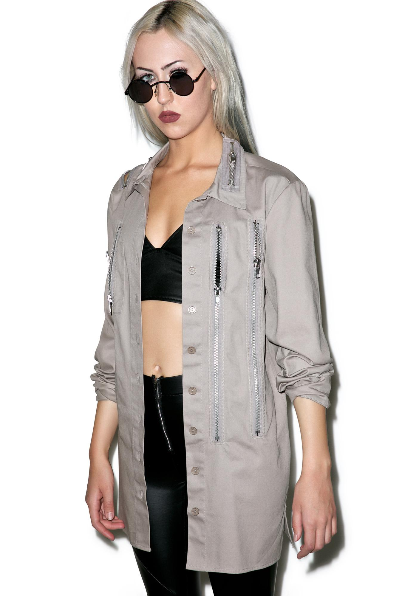 Widow Sandstorm Zipper Head Button Up Top