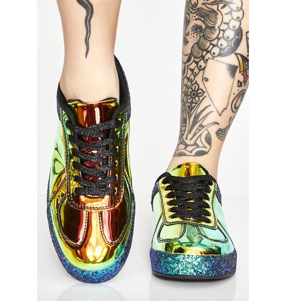Emerald Cosmic Slide Hologram Sneakers