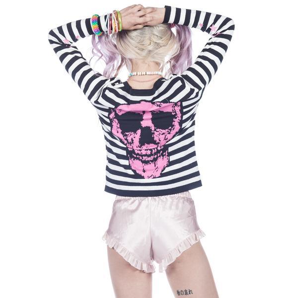 Too Fast Stripe Skull Knit Cardigan