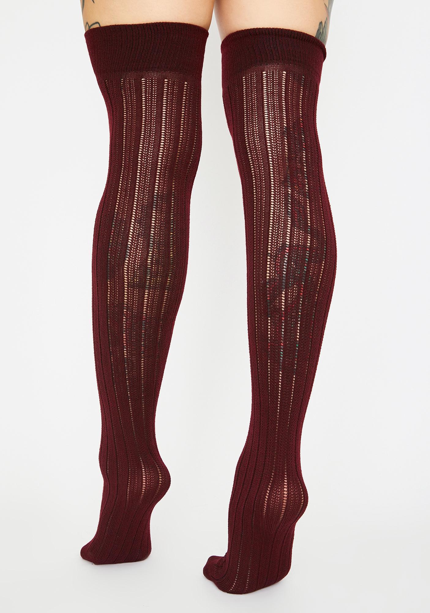 Merlot Finally Playtime Knee High Socks