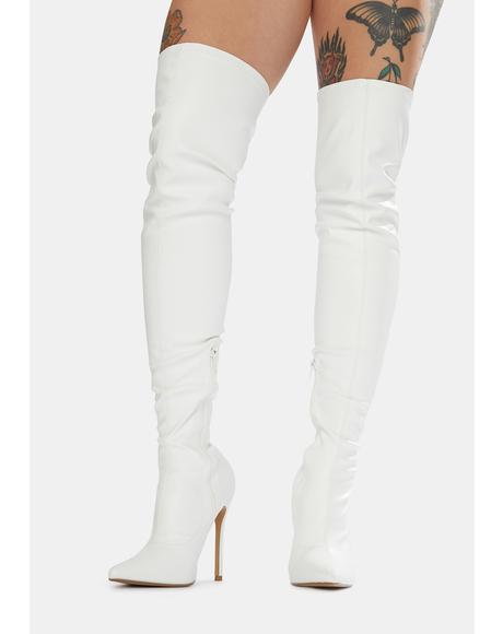 White Confidence Patent Stiletto Boots