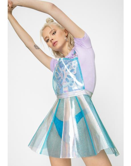 Pixie Gurl Hologram Overall Dress
