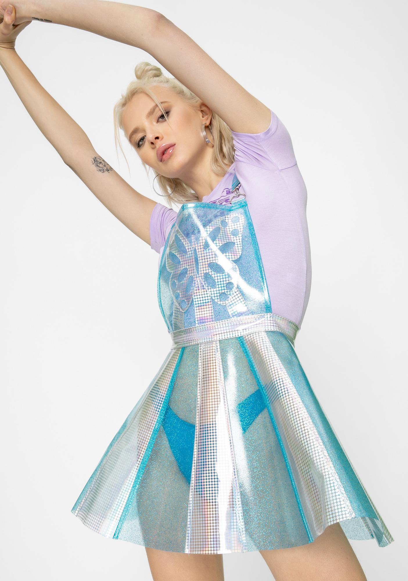 Club Exx Pixie Gurl Hologram Overall Dress