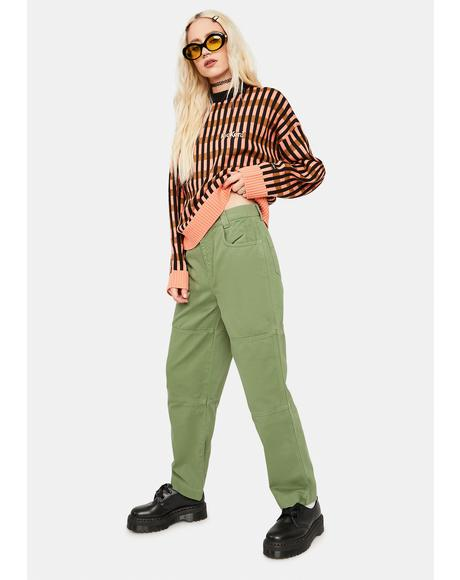 Washed Green Utility Pants