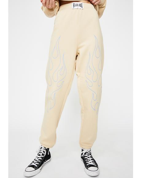 Beige Sweatpants With Blue Flames