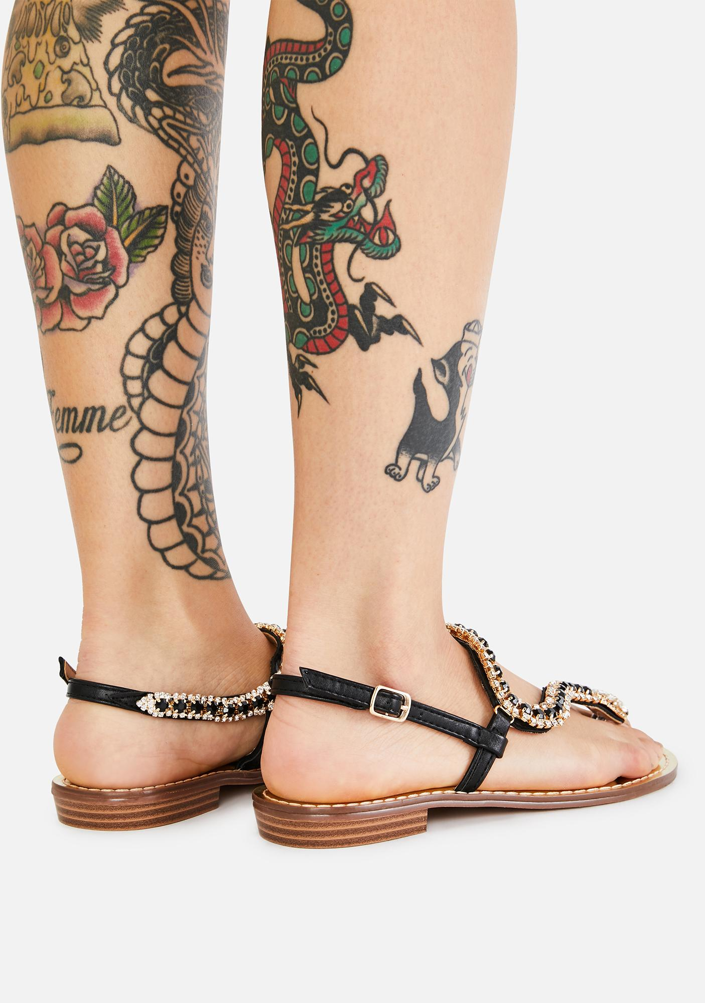 AZALEA WANG Echo Rhinestone Gladiator Sandals