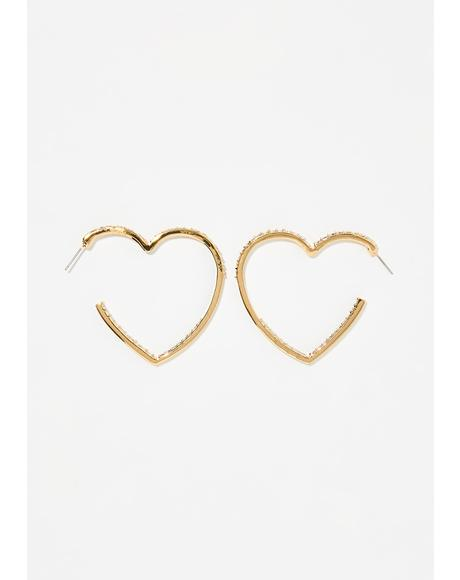 Sweetest Love Heart Hoop Earrings