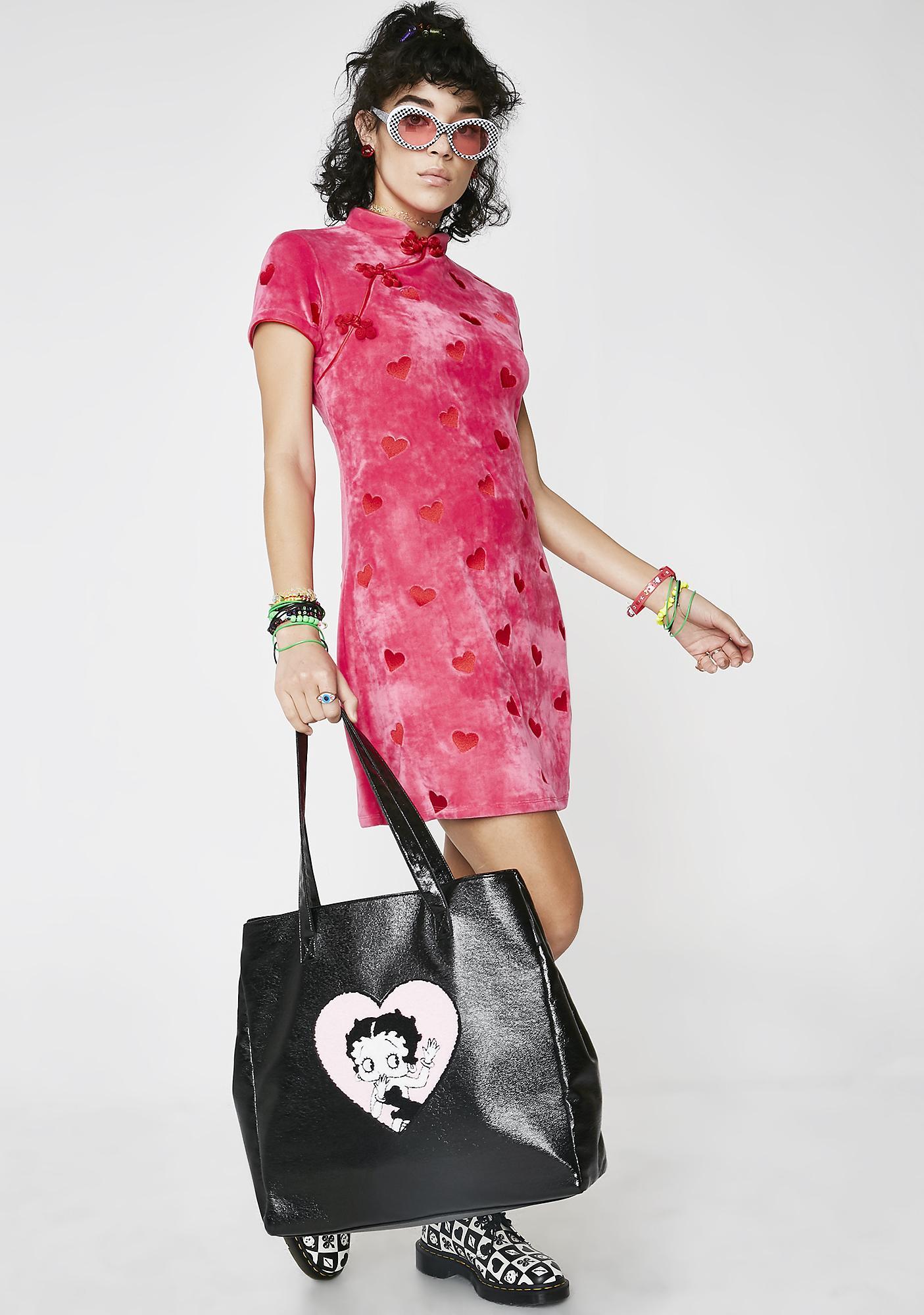 Lazy Oaf Hearts Velour Dress