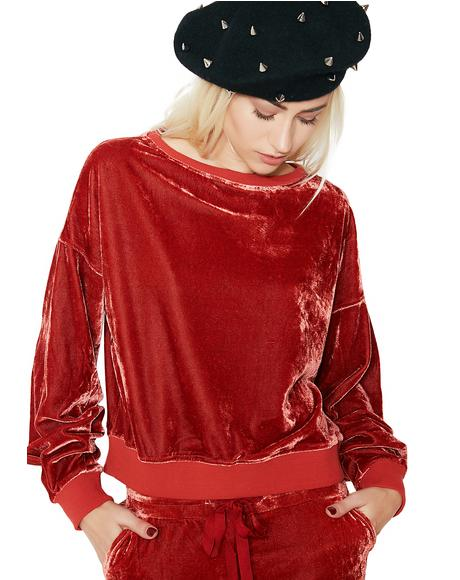 Get On Up Velour Pullover Sweatshirt