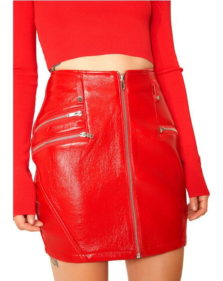 Flamethrower Zip-up Mini Skirt